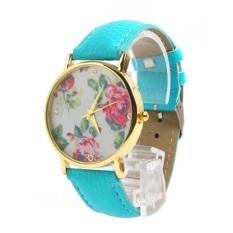 New Style Geneva Woman Analog Quartz Watch Flower Face Style Leather Band (Blue)