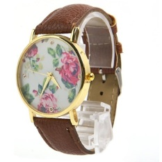 New Style Geneva Woman Analog Quartz Watch Flower Face Style Leather Band (Brown)