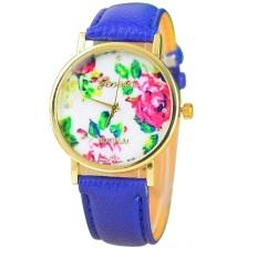 New Style Geneva Woman Analog Quartz Watch Flower Face Style Leather Band Dark Blue