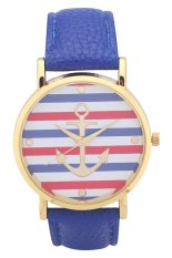 New Style Horizontal Stripes Anchor Rose Gold Shell Leather Belt Quartz Wrist Watches(Blue)