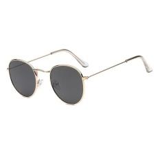 Tren kacamata baru Round Sunglasses Bright reflektif berjemur kacamata - emas bingkai Gray lembar