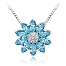 New Swarovski Elements Crystal Necklace - Sleeping Lotus Pendant - Sea Blue 2501