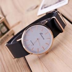 New Ultra-thin Leather Belt Geneva Classic Simple Scale Men Watches BK - intl
