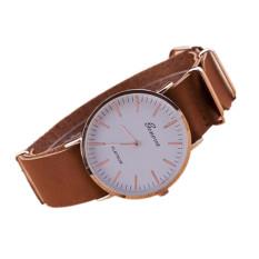 New Ultra-thin Leather Belt Geneva Classic Simple Scale Men Watches (Khaki)