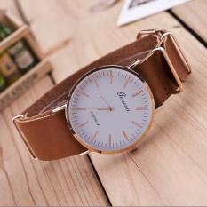 New Ultra-thin Leather Belt Geneva Classic Simple Scale Men Watches Khaki - intl