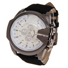 New V6 Brand Leather Fashion Men Quartz Sports Watches Black + White (Intl)