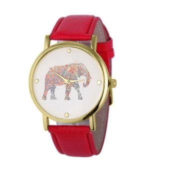 New Women Elephant Printing Pattern Weaved Leather Quartz Dial Watch Red Free Shipping