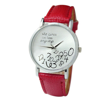 New Women Leather Watch Who Cares I Am Late Anyway Letter Watches Red