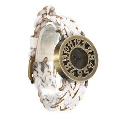 New Women's Vintage Wrap Braided Faux Leather Analog Quartz Bracelet Wrist Watch White - Intl