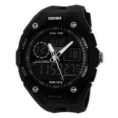 Newest Wristwatch Big Dial SKMEI Electronic Multi-function Fashion MEN'S Watch Sports Waterproof Students (Black) - Intl
