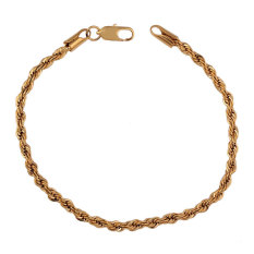 NiceEshop 18K Yellow Gold Plated European Style Lady Girls Slim Rope Chain Bracelet