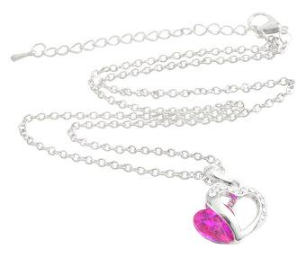 NiceEshop Crystal Double Love Heart Pendant Necklace (18 Iinch Long Roseo)