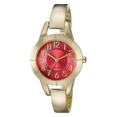 Nine West Women's NW / 1762COGB Easy To Read Coral Dial Gold-Tone Bangle Watch (Intl)