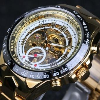 Numberal Bezel Design Full Golden Mens Watches - intl
