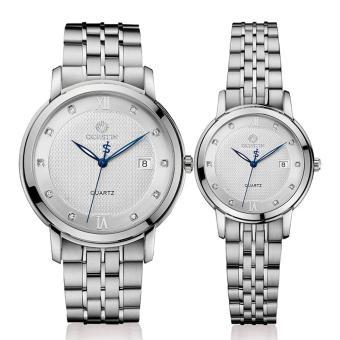 Oanda Switzerland OCHSTIN Genuine Steel Quartz Watch Waterproof Luminous Male Couple Watches Ladies Stainless Steel Fashion (White)