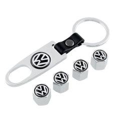 OEM 4Pcs Car Tyres Tire Stem Aluminum Air Valve Caps Dust Covers Spanner Key Ring (Intl)
