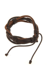 OEM Men's Hemp Surfer Wristband Genuine Leather Bracelet (Brown / Black) (Intl)