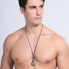 OEM New Black Leather Cord Choker Charm Necklace Pendant Retro Hippy Alloy NO.272 - Intl