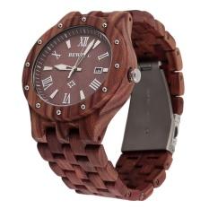 OH BEWELL Fashion Cool Men Sandalwood Wooden Quartz Watch Round Wristwatch Red