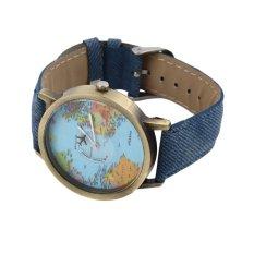 OH Women Men Fashion Vintage Casual World Map Dial Analog Quartz Wrist Watch Blue