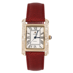 OH WWOOR Elegant Crystal Women Square Quartz Wrist Watch Office Lady Watch Gold & Red (Intl)