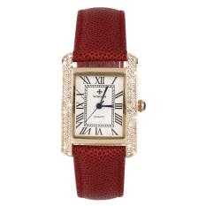 OH WWOOR Elegant Crystal Women Square Quartz Wrist Watch Office Lady Watch Gold & Red (Intl)