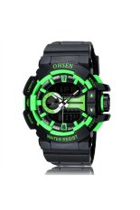 OHSEN AD1505 Waterproof Men's Boys Dual Time Display LED Digital Quartz Sports Watch with Stopwatch / Date / Alarm / EL Backlight Green