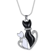 Okdeals Chic Women Black&White Cats Animal Heart Crystal Chain Leather Necklace Pendant H