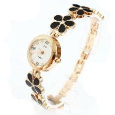 Okdeals Fashion Daisies Flower Rose Gold Bracelet Wrist Watch Black (Intl)