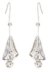One Zero One New vintage artificial grace silver chain with leaf filled diamond hook earrings