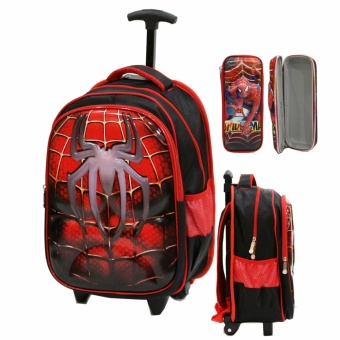 Onlan Tas Trolley Anak SD Import Motif 6D Soft Hard Cover Timbul + Kotak Pensil Timbul