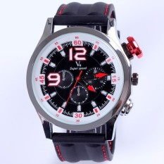2015 Men Sports Watches Fashion Designer Military Wristwatch Japan Movement Quartz Clock Alloy Case Wholesale (White Red) (Intl)