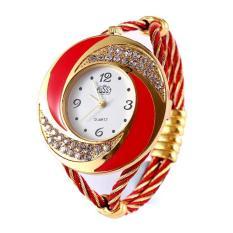 JIANGYUYAN 2015 New Fashion Elegant Bracelet Watch For Women Dress Watch Black Rhinestone Wristwatch On Sale (Red) (Intl)
