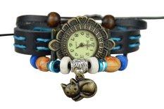 Ooplm Fashion Retro Cat Pendant Braid Bangle Bracelet Wrist Watch For Women (Blue)