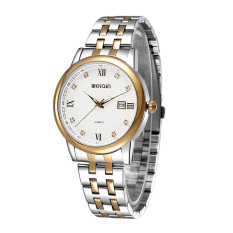 Luxury Brand WEIQIN Watch Men Full Stainless Steel Watches Wristwatches Calendar Rhinestones Roman Number Watch (Gold White) (Intl)