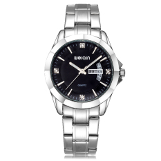 JIANGYUYAN Men Watch Quartz Luxury Brand WEIQIN Watches Full Stainless Steel Wristwatches Waterproof Chinese and English Calendar Display (Black with Box) (Intl)