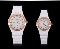 JIANGYUYAN New Designer Fashion Brand Watch Lovers Rose Gold Plated Crystal Diamonds White Ceramic Strap For Male Female Couple Dropship (White Gold Box) (Intl)
