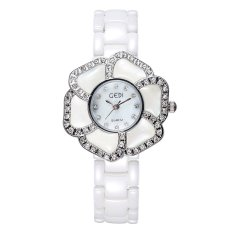 JIANGYUYAN New Fashion GEDI Brand Genuine Ceramic Watches Women Dress Watches Flower Case Full Rhinestone Quartz Wristwatch (Silver) (Intl)