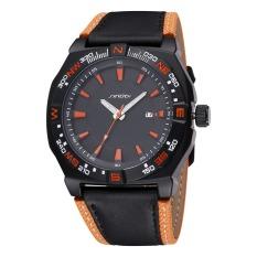 SINOBI 2016 Waterproof Men Fashion Sports Quartz Watches Leather Strap Men Watch Military Luminous Wristwatch Relogio Masculino (Black Black Orange) (Intl)