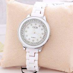 Watches Ceramic Women Designer Wholesale Fashion Charm Style Rhinestone Rose Gold Luxury Design For Ladies (Silver) (Intl)