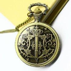 Free Shipping Wholesale Hot Sale Bronze Vine Big Round Face Black Butler Quartz Pocket Watch Necklace (Intl)