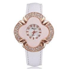 JIANGYUYAN Women Watch Diamond Luxury Rose Gold Plated Pu Leather Lady Dress Clock (White) (Intl)