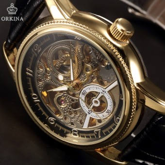Orkina Luxury Clock Men Leather Skeleton Watch Classic Retro Black Golden Dial Male Masculino Mechanical Automatic Watch - Intl