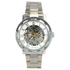 Orkina Men's Business White Rim Hand-Wind Mechanical Dial Stainless Steel Bracelet Wrist Watch ORK-0161X (Intl)