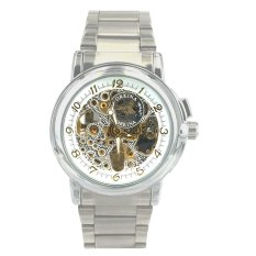 Orkina Men's Skeleton Dial Mechanical Silver Stainless Steel Band Wrist Watch