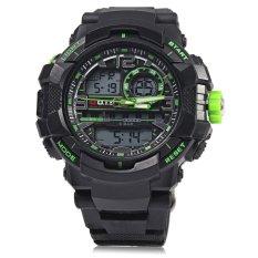 OTS 8073 Men LED Digital Luminous Quartz Watch Analog Outdoor Sport Dual Movt Military Wristwatch (GREEN) - Intl