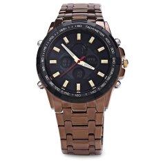 OTS 8203G Dual Movt Men Analog LED Digital Quartz Watch Luminous Pointer Calender Water Resistance Wristwatch (COFFEE)