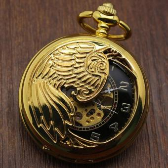 ouhofus Creative mechanical watch animal phoenix pattern provides packet machine carved gold pocket watch (Yellow)