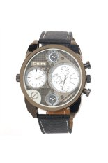 Oulm 9316 Cool Men's Big Round Dial Dual Time Display Quartz Wrist Watch with PU Band White