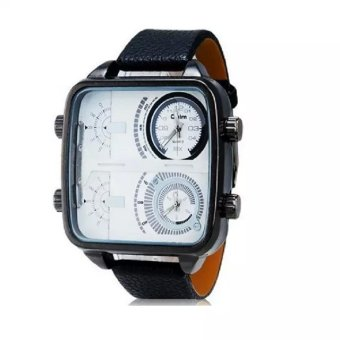 Oulm Men's Large Square Dial Analog Quartz Watch Military Analog Watch Relojes Hombre white